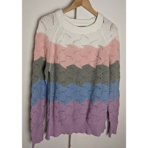 Andree | Multi Color Block Scallop Sweater Size 1X